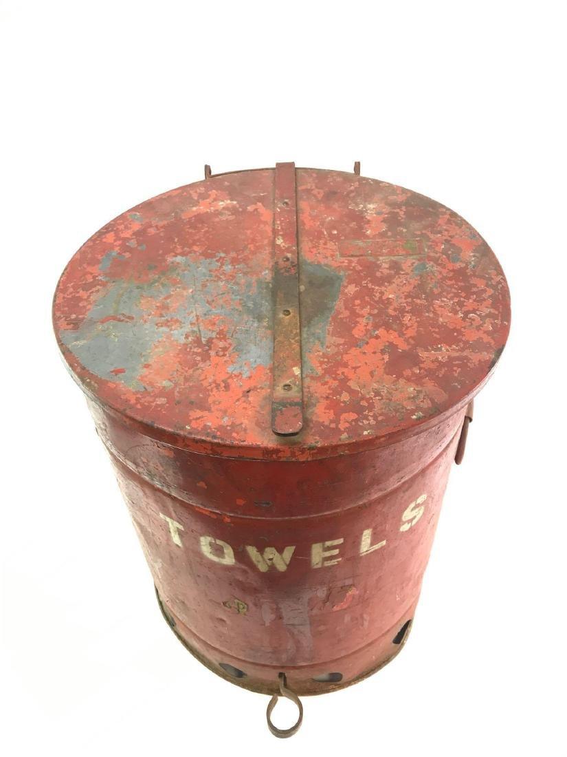 """Vintage Gas Station/Garage """"Towel"""" Red Trash Can - 2"""