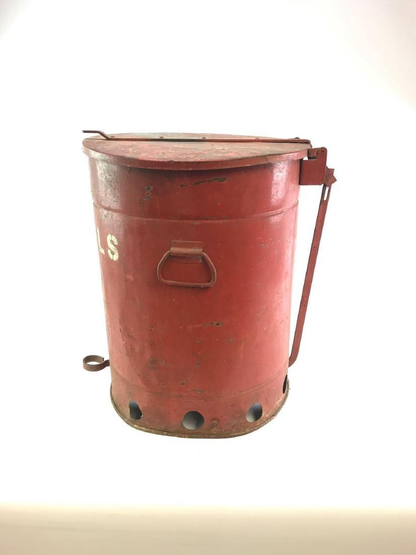 """Vintage Gas Station/Garage """"Towel"""" Red Trash Can - 5"""