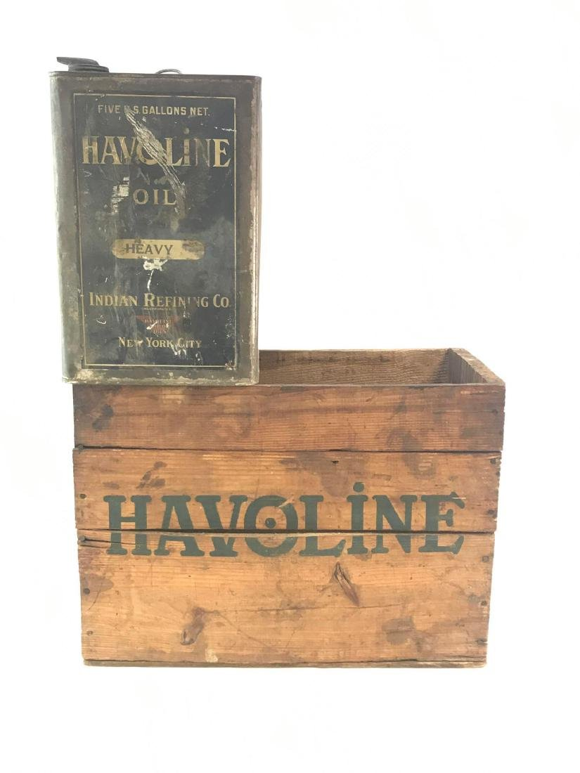 Vintage Havoline Motor Oil Wood Crate and Oil Can
