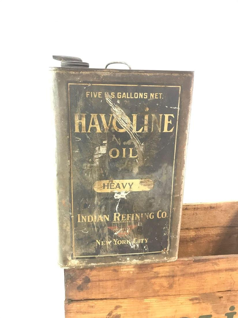 Vintage Havoline Motor Oil Wood Crate and Oil Can - 2
