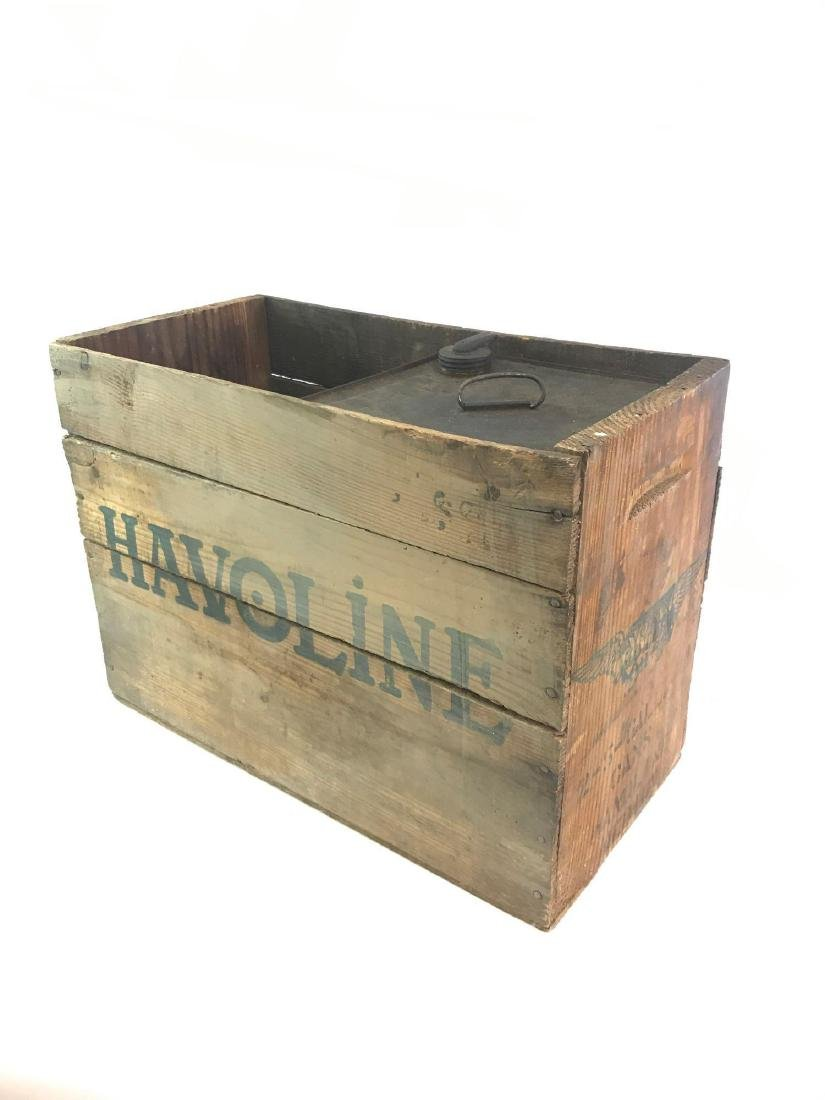 Vintage Havoline Motor Oil Wood Crate and Oil Can - 5