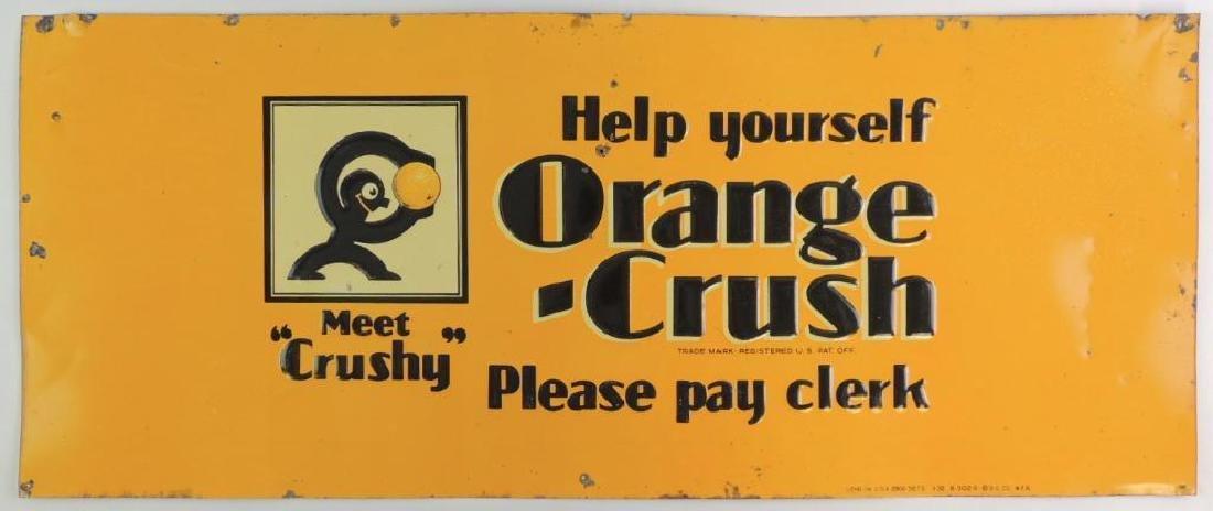 """Vintage Orange Crush """"Meet Crushy"""" Embossed Advertising"""