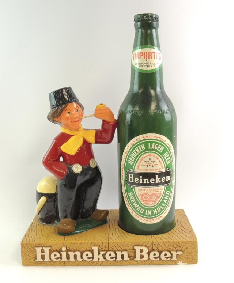 Vintage 1962 Heineken Beer Advertising Plaster Statue