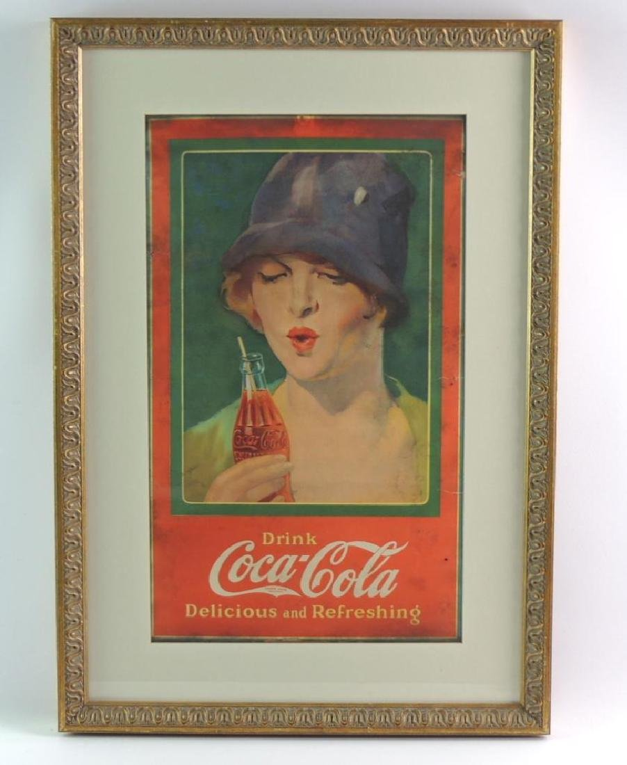 Antique Coca-Cola Advertising Poster in Yellow Gilded