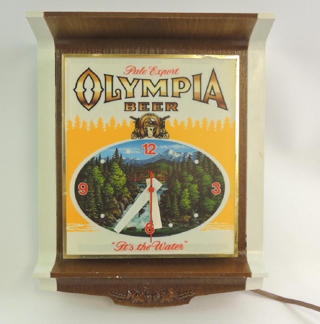 Vintage Olympia Beer Advertising Light Up Clock