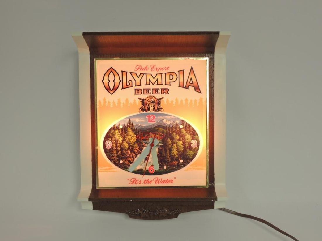 Vintage Olympia Beer Advertising Light Up Clock - 2