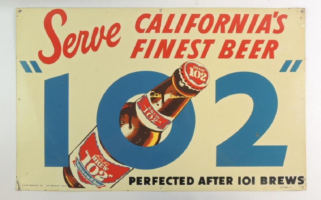 "Vintage Brew ""102"" Advertising Metal Beer Sign"