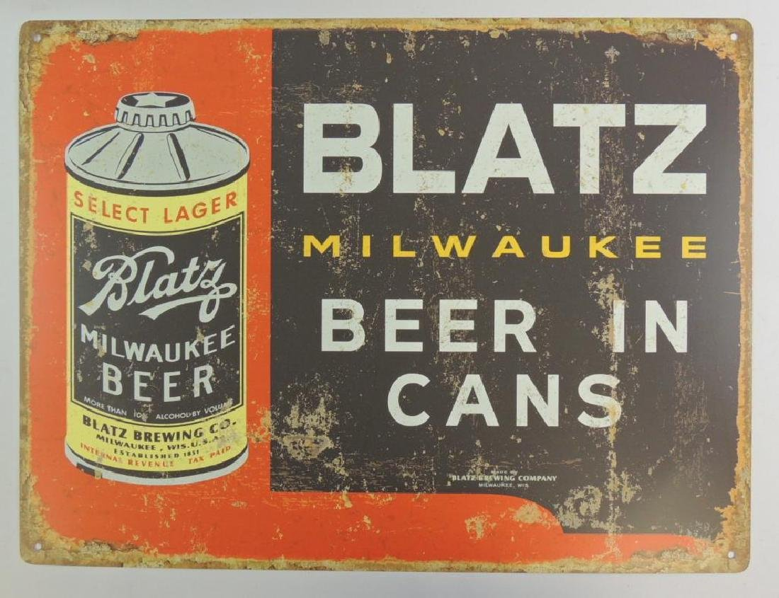 New Blatz Milwaukee Beer in Cans Advertising Metal Beer