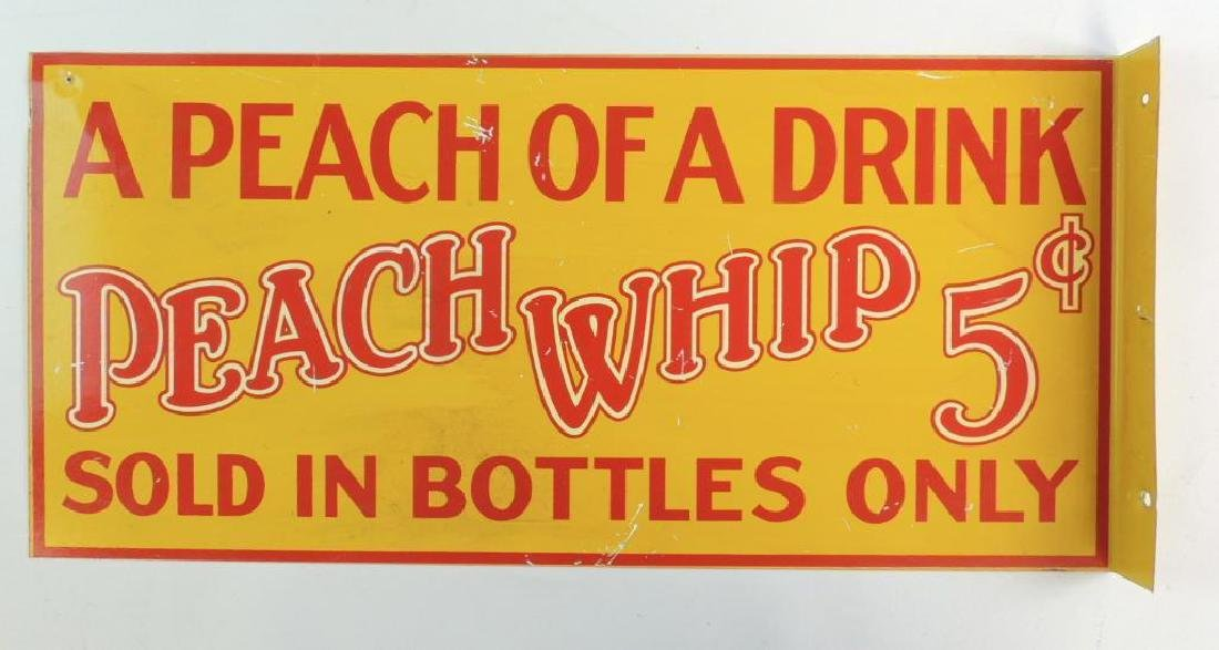 Peach Whip 5 Cents Flanged Advertising Metal Sign