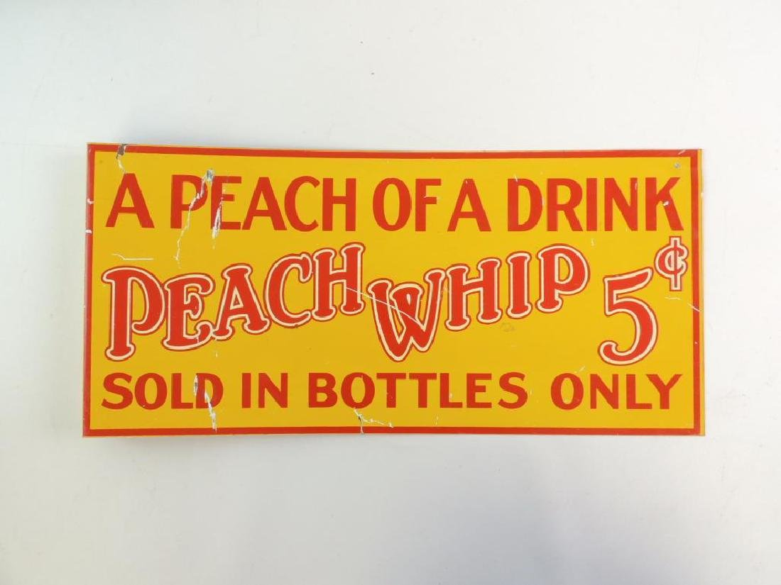 Peach Whip 5 Cents Flanged Advertising Metal Sign - 2