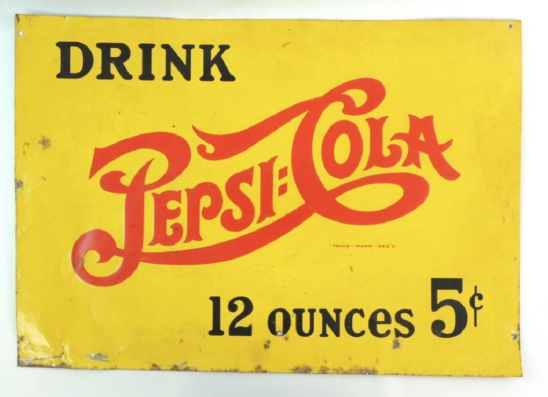 Vintage 1950's Pepsi Cola Advertising Metal Sign
