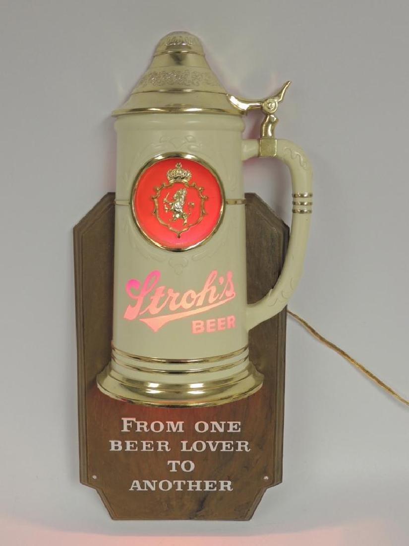 Vintage Stroh's Beer Advertising Light Up Beer Sign - 2