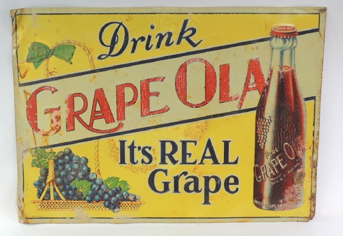 Vintage Grape Ola Advertising Tin Tacker Sign
