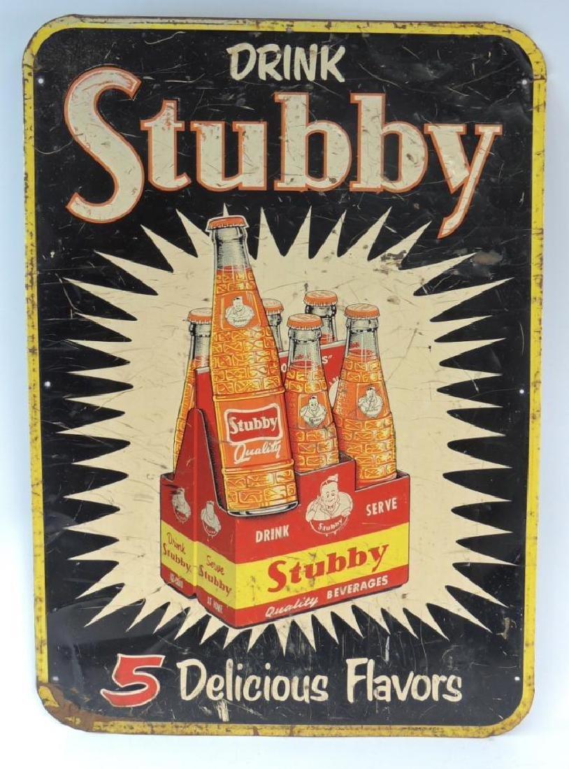 Vintage Stubby Soda Advertising Metal Sign