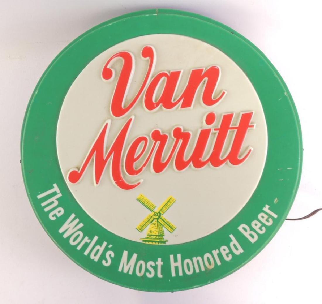 Vintage Van Merritt Beer Advertising Light Up Beer Sign