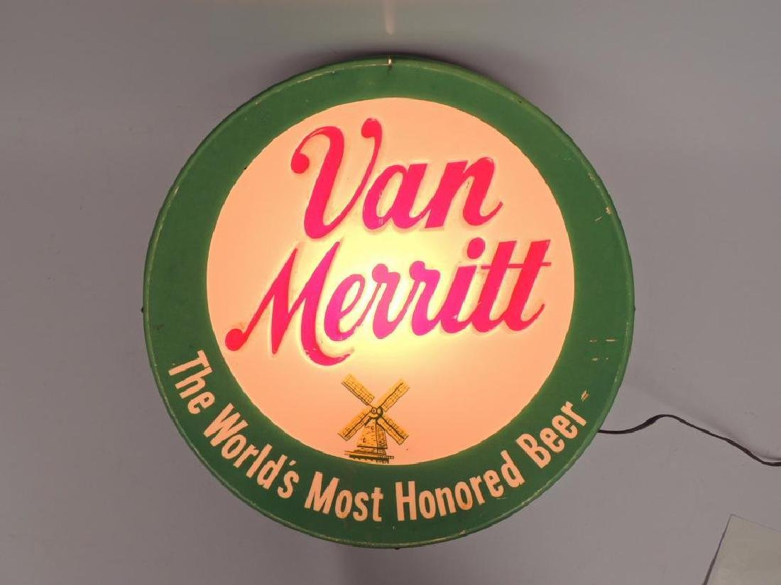 Vintage Van Merritt Beer Advertising Light Up Beer Sign - 2