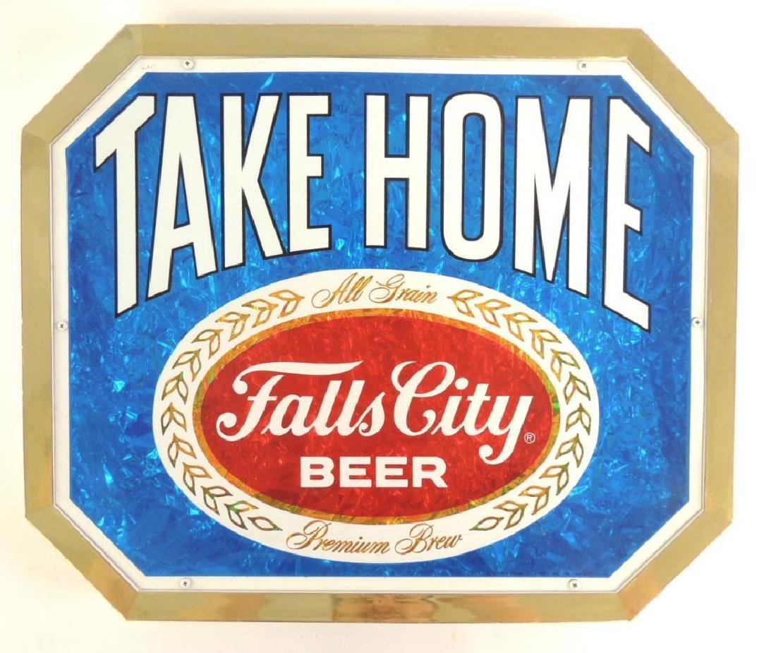 Vintage Falls City Beer Advertising Foil Sign