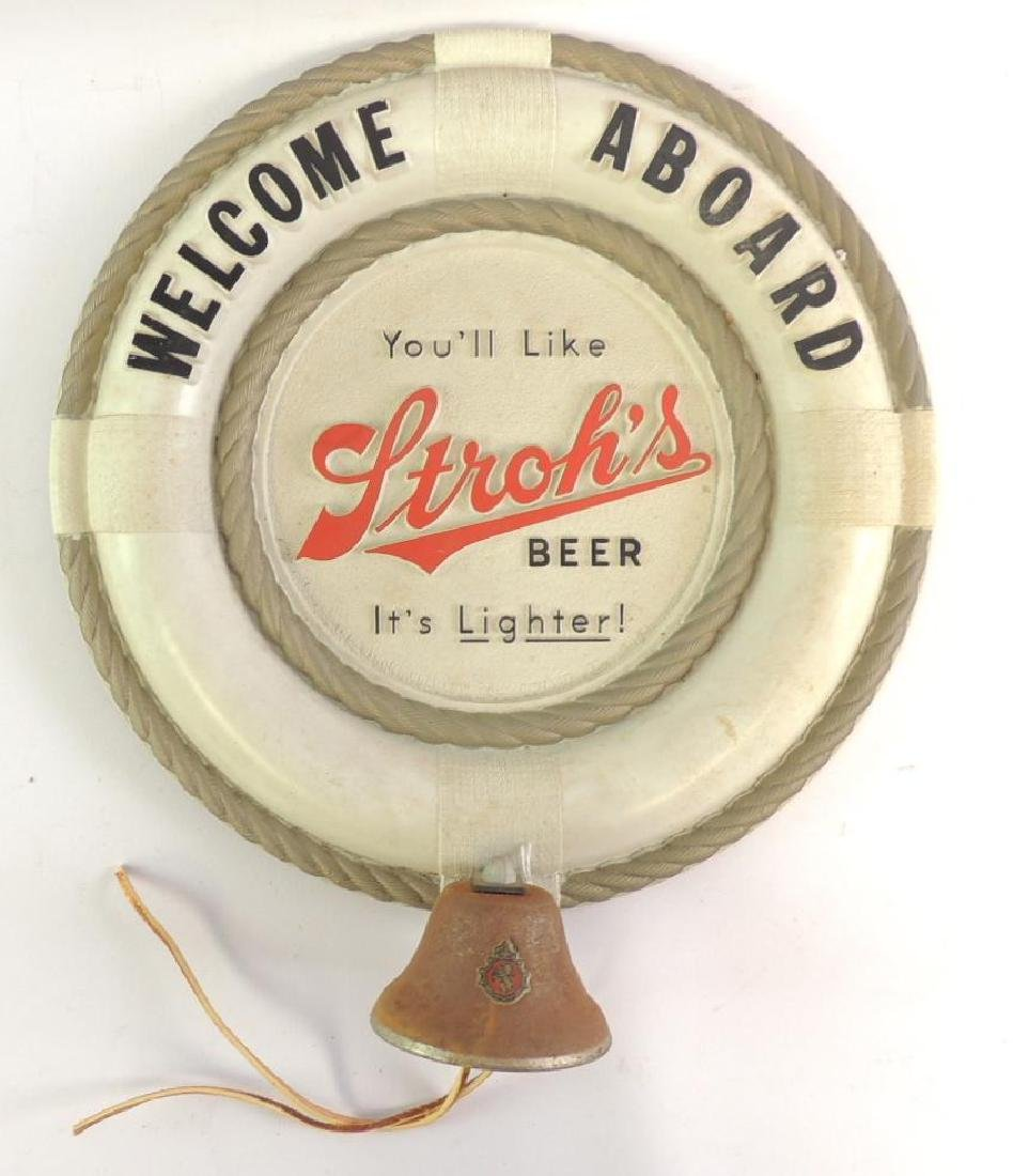 "Vintage Stroh's ""Welcome Aboard"" Advertising Sign with"