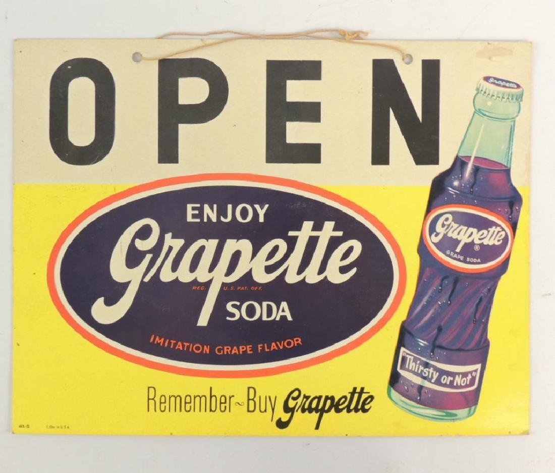"""Vintage Grapette Soda """"Open and Closed"""" Advertising"""