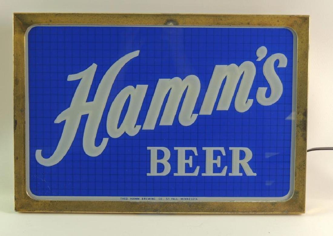 Vintage Hamm's Beer Reverse Painted Glass Double Sided