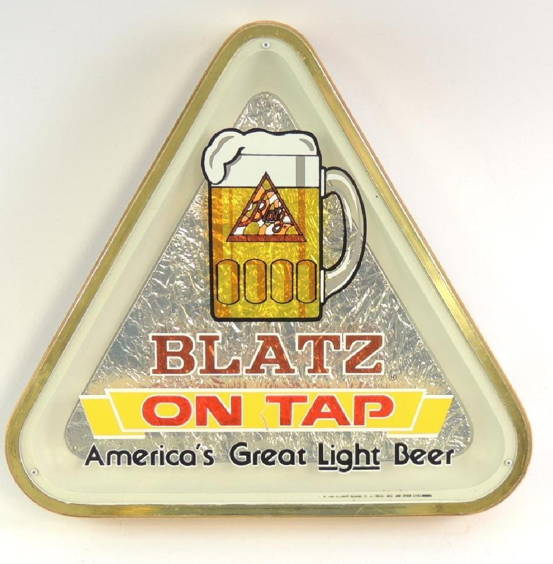 Vintage Blatz On Tap Advertising Foil Beer Sign