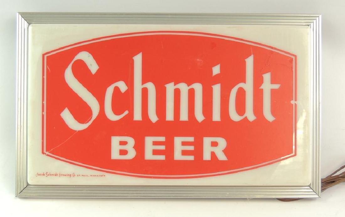 Vintage Schmidt Beer Advertising Light Up Beer Sign