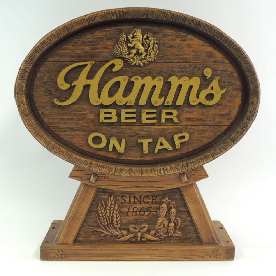 Hamm's Beer On Tap Advertising End Cap Barrel Topper