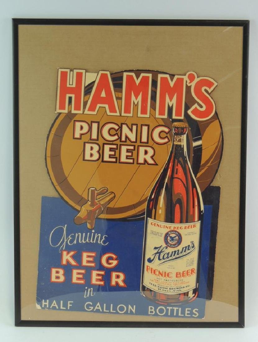 Vintage Hamm's Picnic Beer Advertising Cardboard Sign
