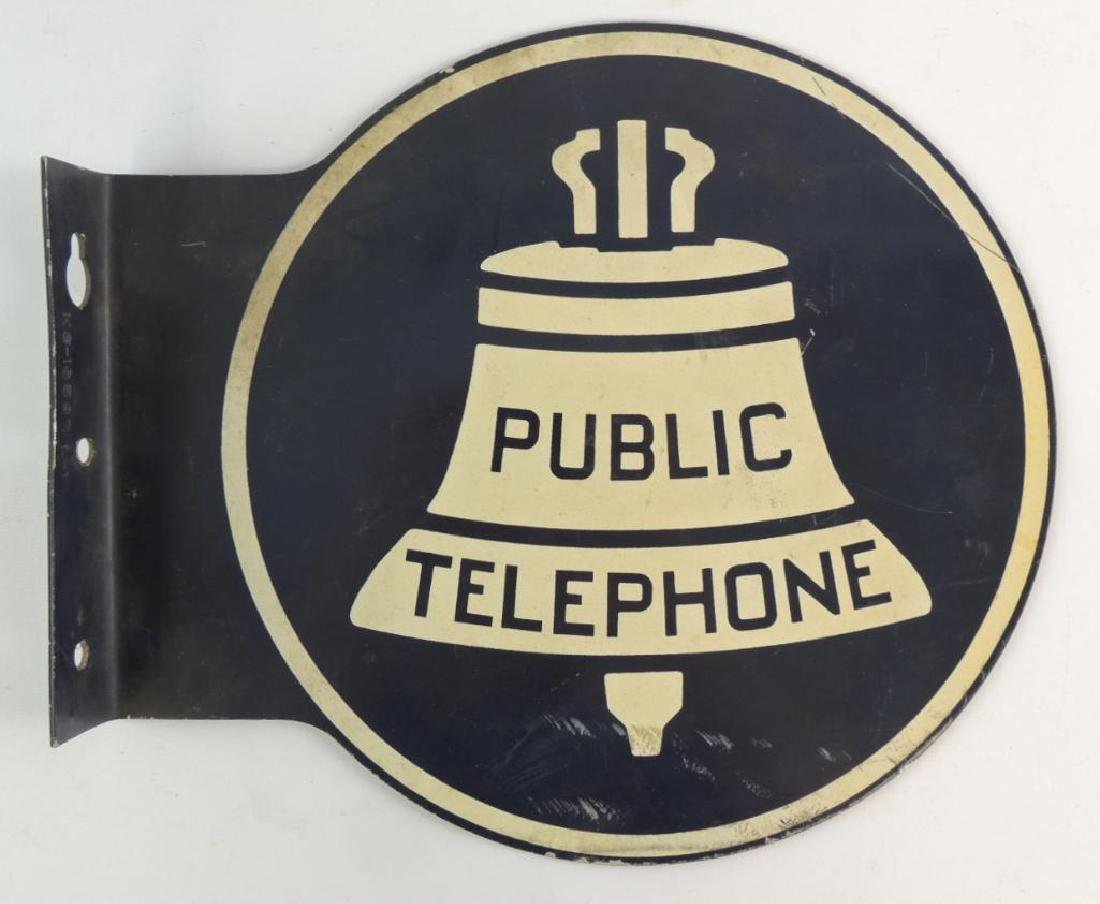 "Vintage Bell Systems ""Public Telephone"" Flanged Metal"