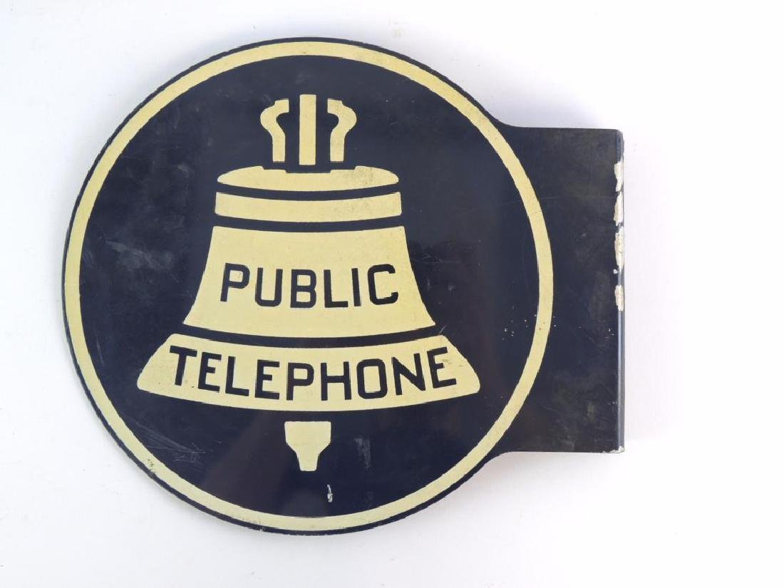 "Vintage Bell Systems ""Public Telephone"" Flanged Metal - 2"