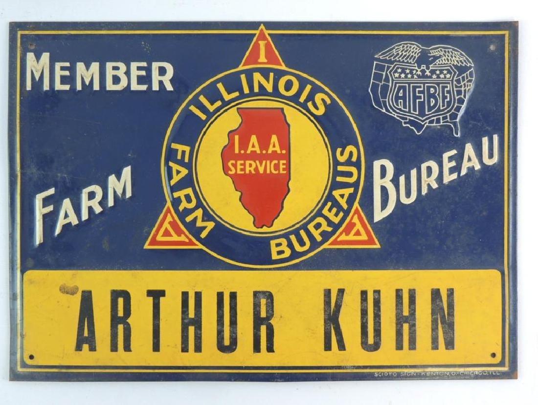 Vintage Illinois Farm Bureaus Member Metal Sign
