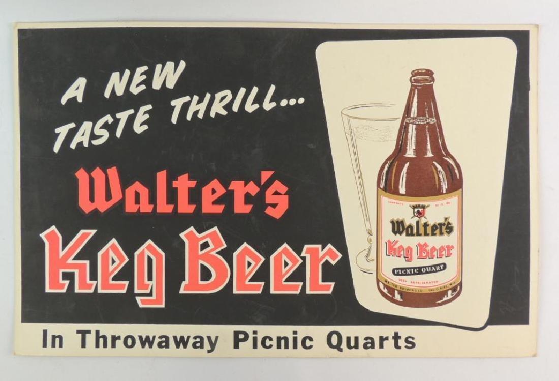Vintage Walter's Keg Beer Advertising Cardboard Sign