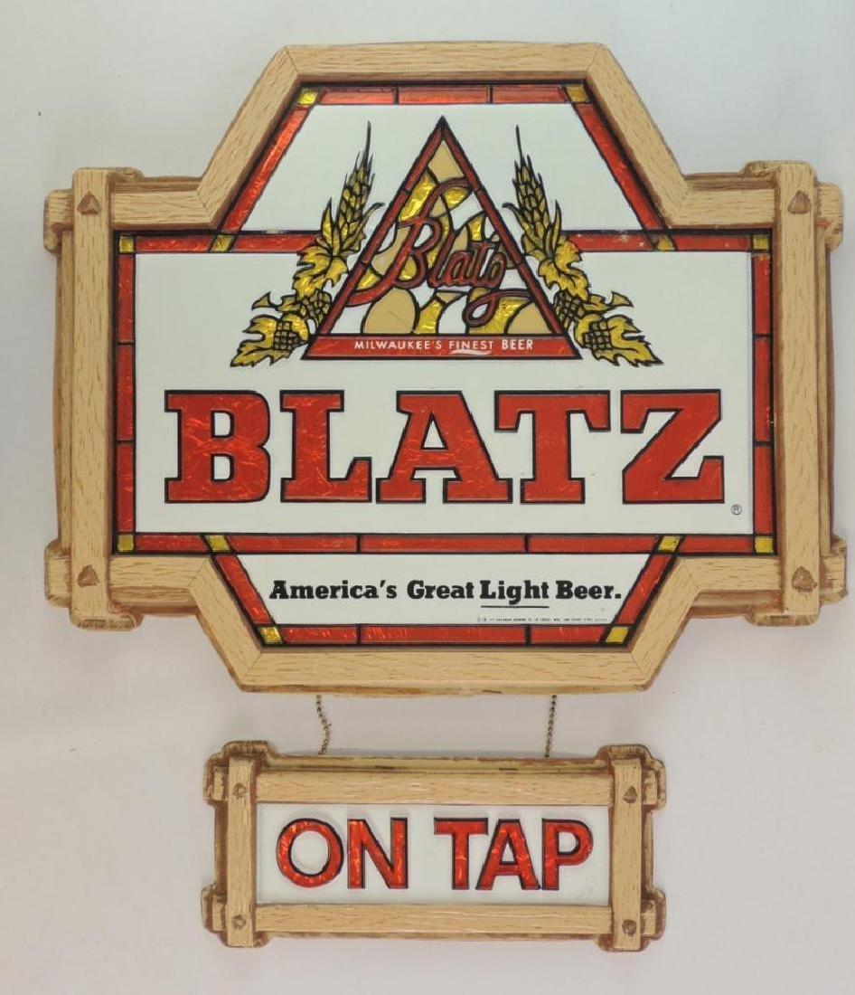 "Vintage Blatz ""On Tap"" Advertising Beer Sign"