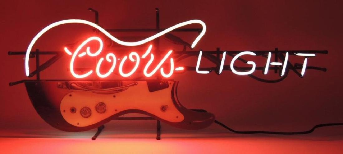 Coors Light Guitar Advertising Neon Sign