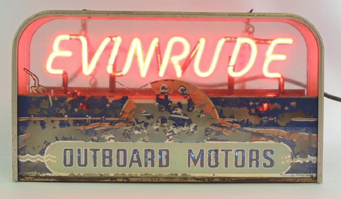 Vintage Evinrude Outboard Motors Advertising Neon Sign