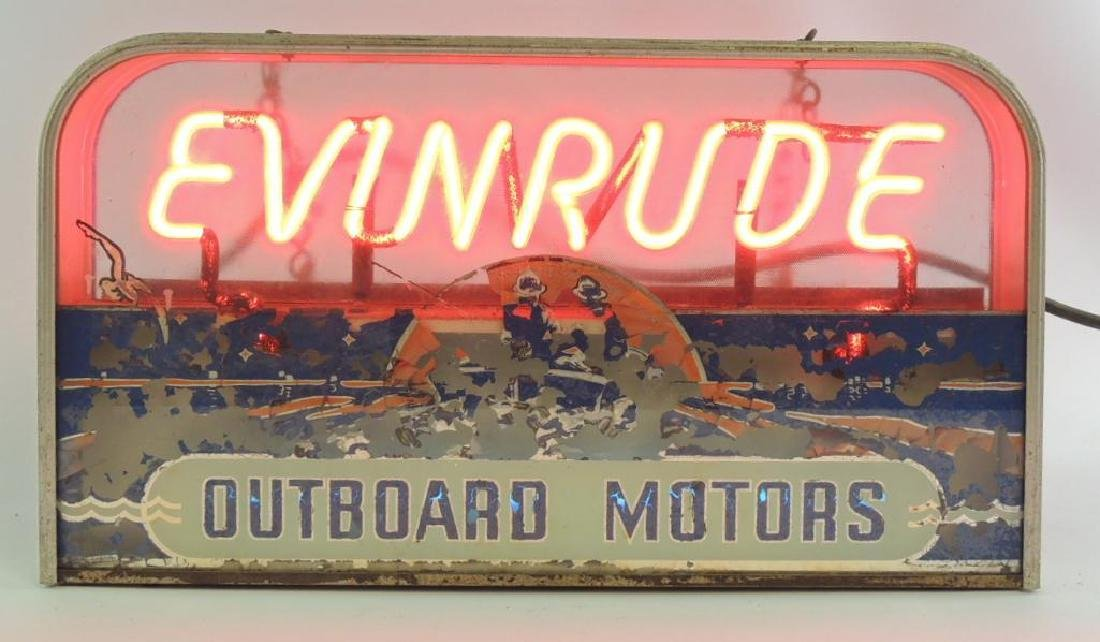 Vintage Evinrude Outboard Motors Advertising Neon Sign