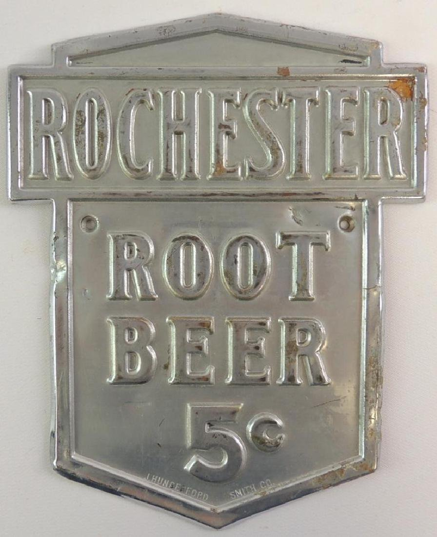 Vintage Rochester Root Beer 5 Cents Advertising Metal