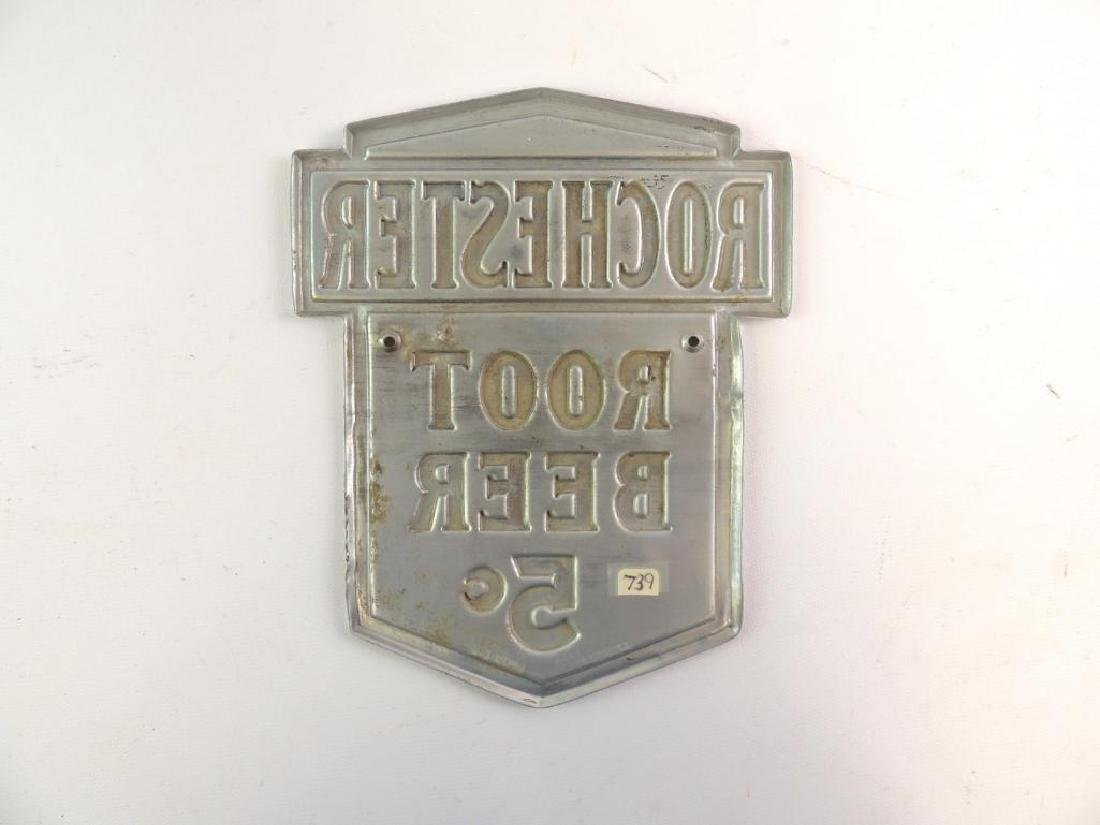 Vintage Rochester Root Beer 5 Cents Advertising Metal - 2