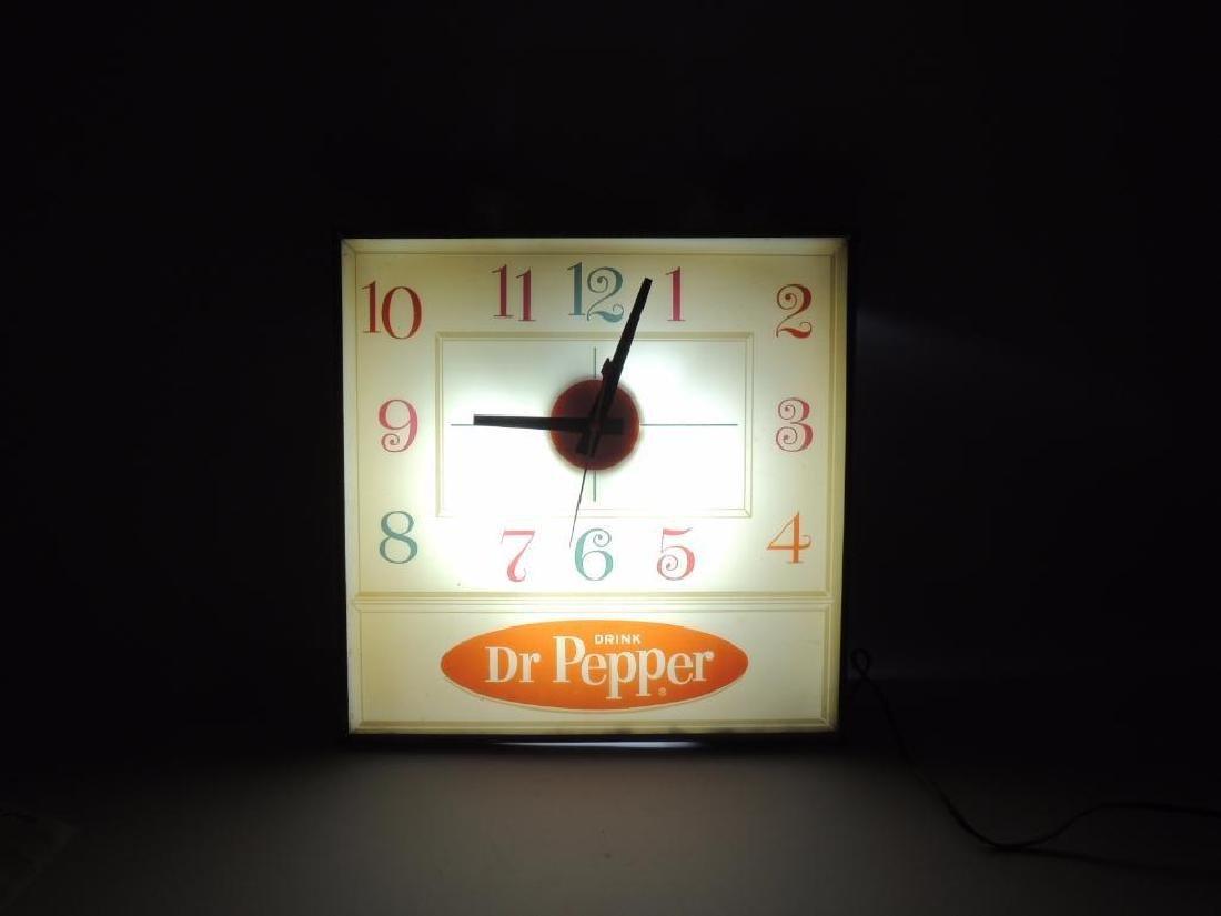 Vintage Dr. Pepper Advertising Light Up Clock - 2