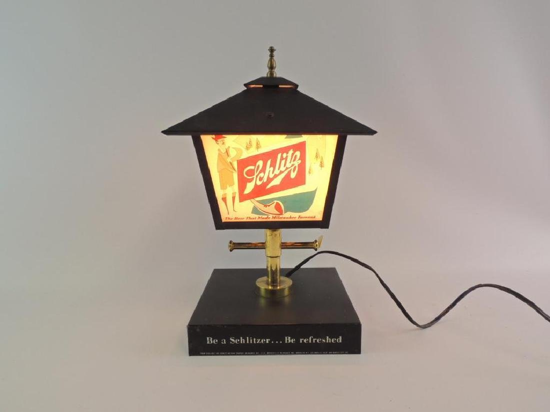 Vintage Schlitz Advertising Light Up Lamp Post Beer - 2