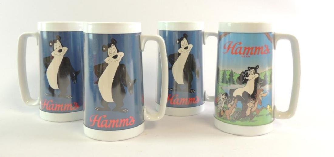 Group of 4 Hamm's Plastic Advertising Steins