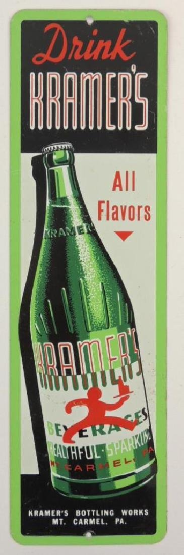 Vintage Kramer's Beverages Advertising Metal Sign