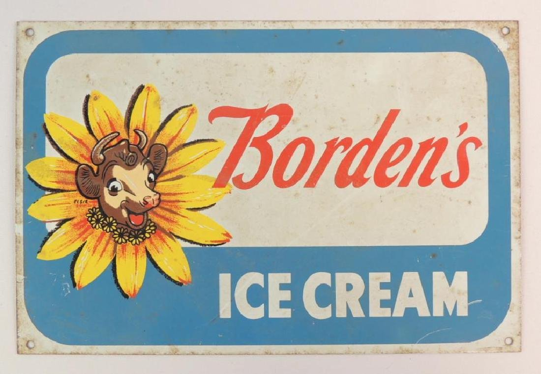Vintage Borden's Ice Cream Advertising Metal Sign