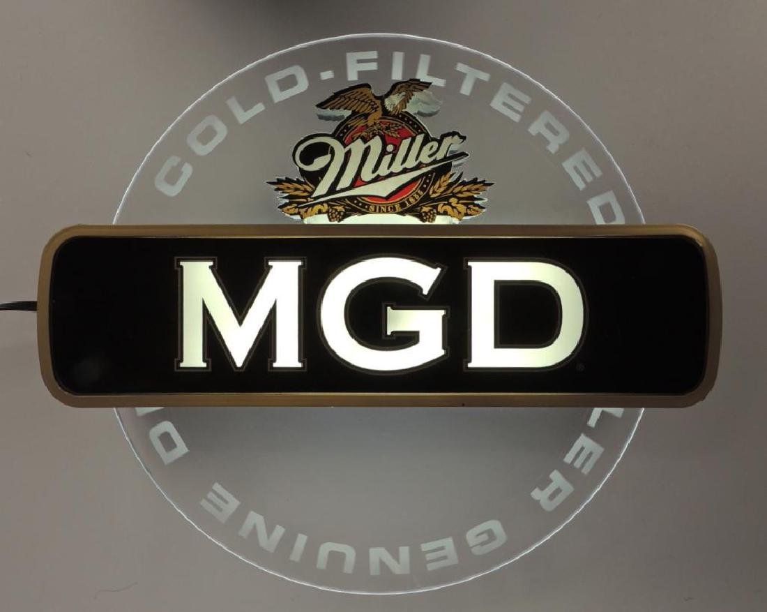 Miller MGD Advertising Light Up Motion Beer Sign - 2