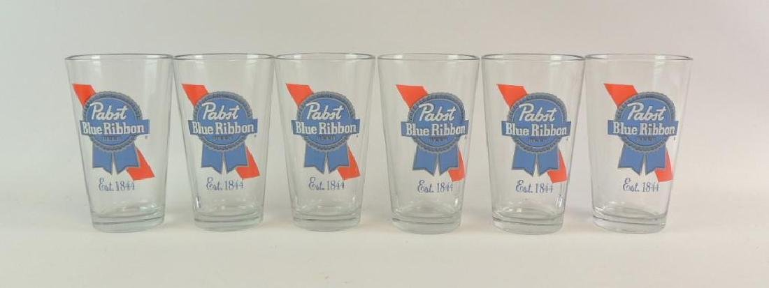 Group of 6 Pabst Blue Ribbon Advertising Glasses