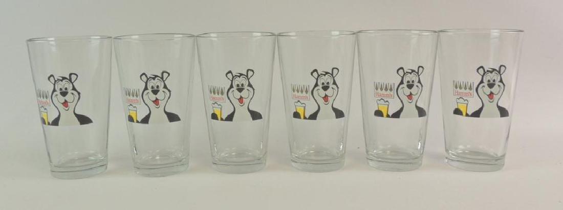 Group of 6 Hamm's Beer Advertising Glasses