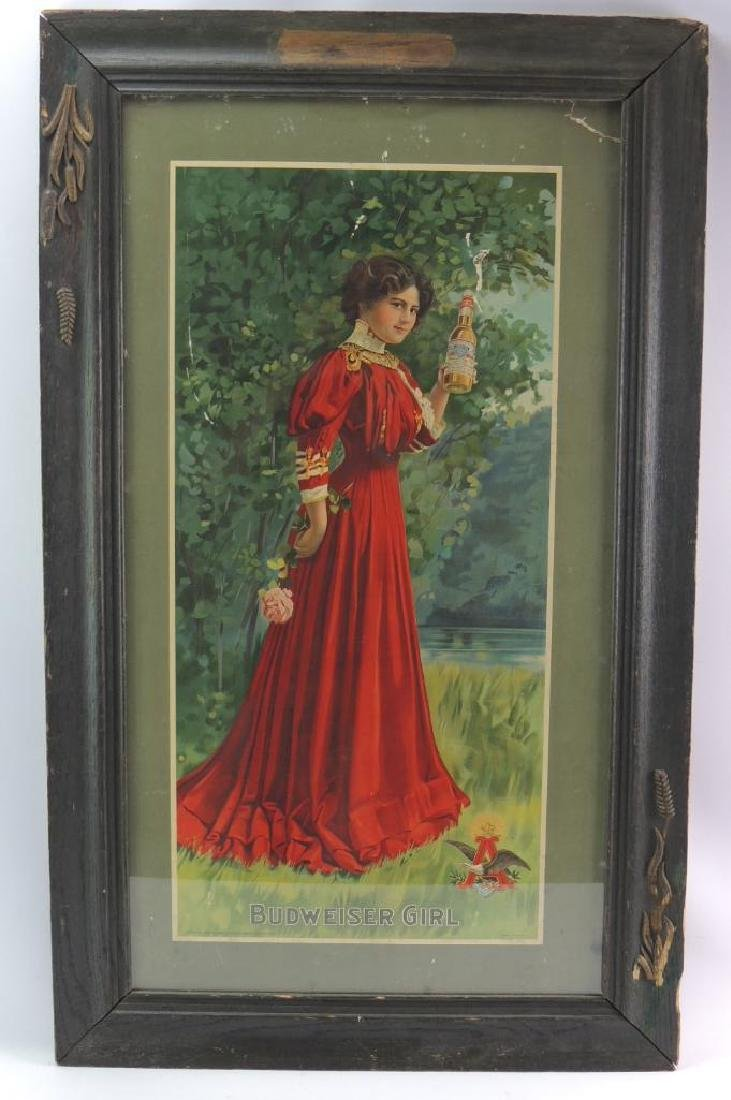 Antique Budweiser Girl Advertising Cardboard Sign