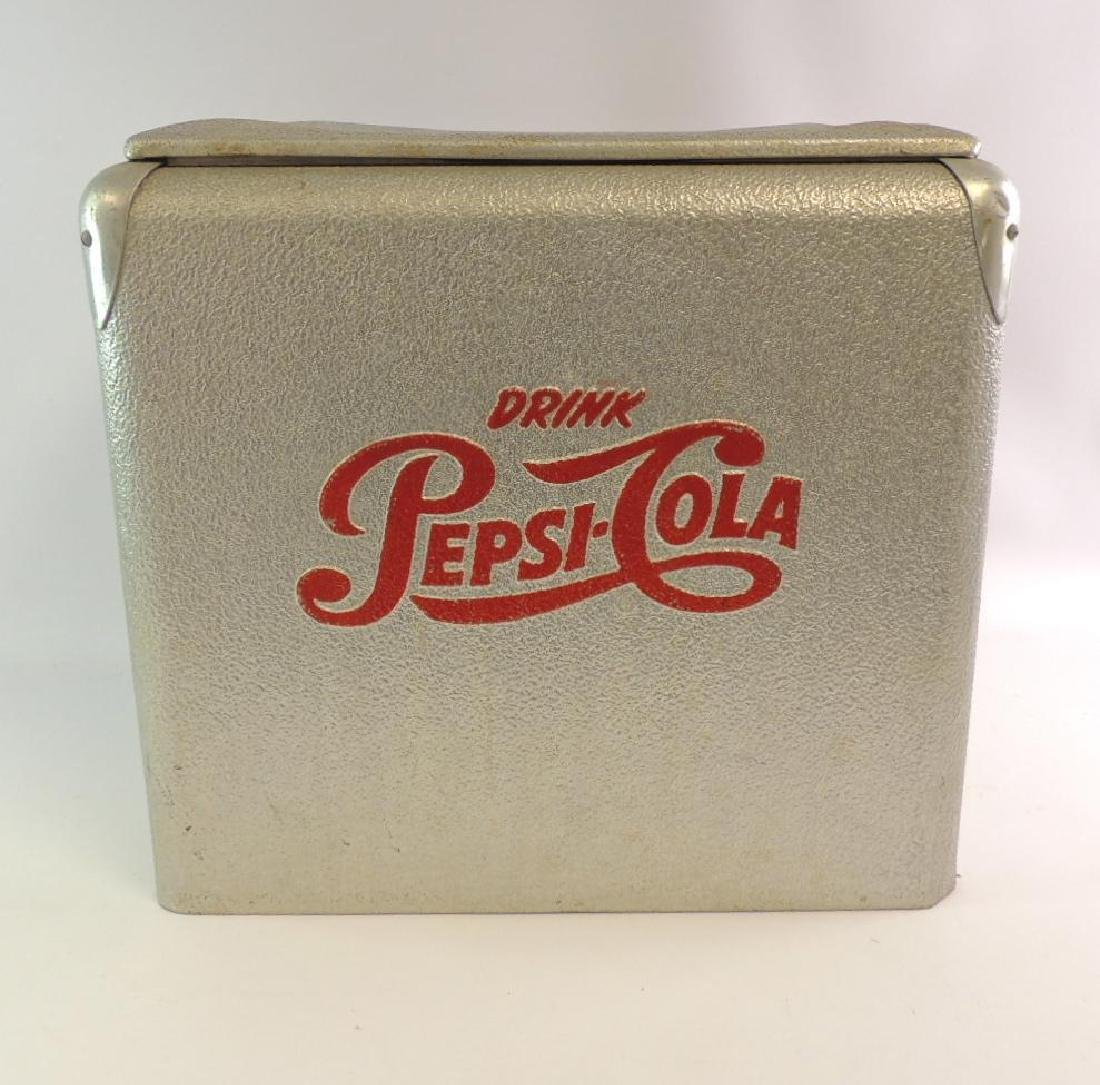 Vintage Pepsi-Cola Advertising Metal Cooler