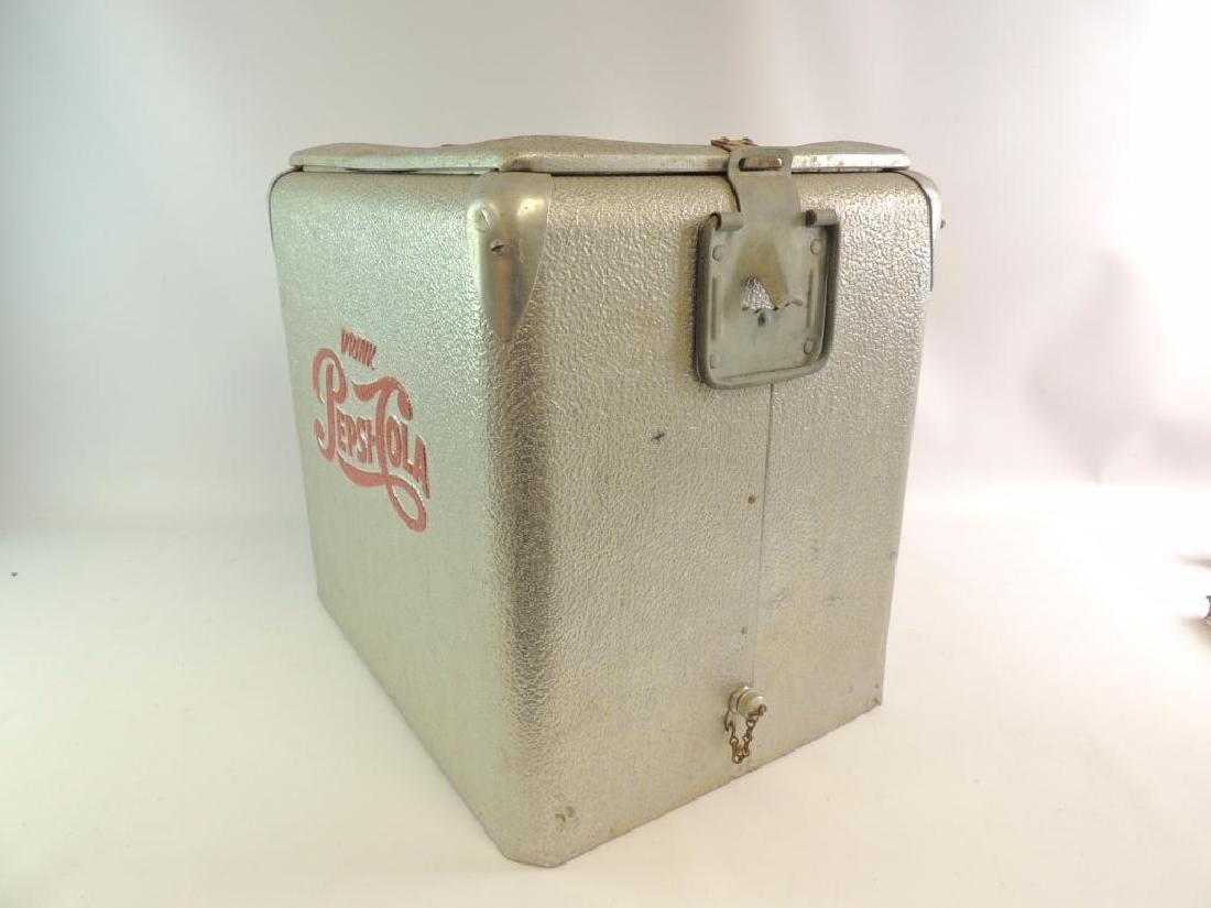 Vintage Pepsi-Cola Advertising Metal Cooler - 2