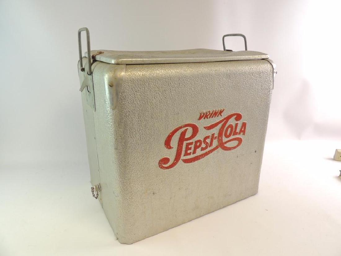 Vintage Pepsi-Cola Advertising Metal Cooler - 4